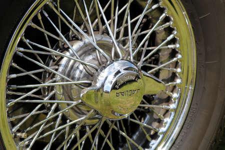 Sandhurst, UK - 18th June 2017: Wire wheel and knock on hub of a vintage Jaguar car