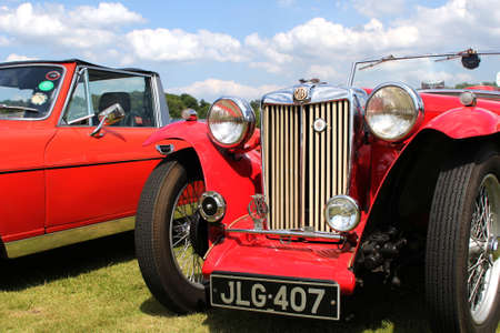 Sandhurst, UK - 18th June 2017: Grille, lights and front bumper of a classic MG TA convertible sports car