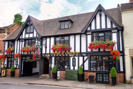 Stratford-upon-Avon, UK - July 21 2017:The Rose & Crown pub on Sheep Street in Stratford, a traditional tudor wattle and daub building dating back to the 16th Century Editorial