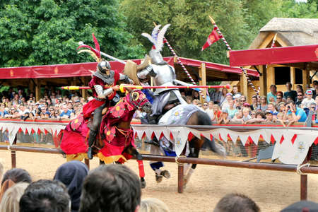 Warwick, UK - July 22 2017: Jousting tournament and medieval re-enactment of the Wars of the Roses at Warwick Castle Editorial