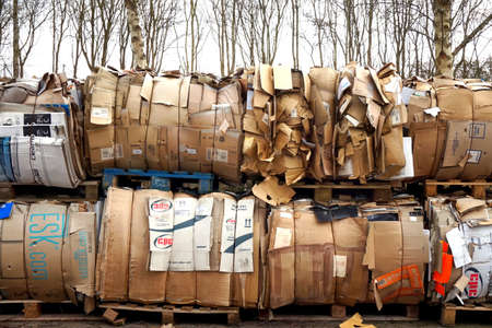 Basingstoke, UK - March 6th 2017: Huge piles of cardboard on pallets waiting to be recycled, with trees in background Editorial