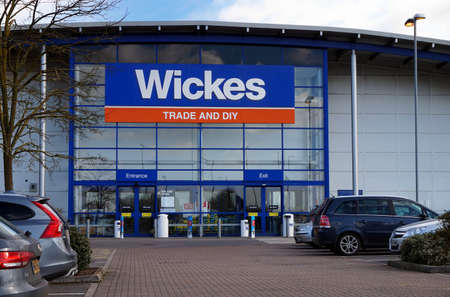 Basingstoke, UK - March 9th 2017: Exterior of the Wickes Trade and DIY hardware superstore