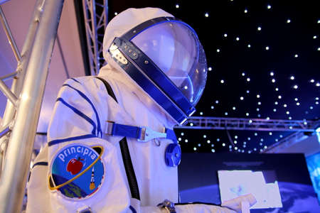 Chichester, Sussex, UK - Feb 15th 2017: Space suit worn by British astronaut Tim Peake for his mission to the International Space Station