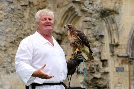 Beaulieu, Hampshire, UK - May 29 2017: Falconer with his buzzard demonstrating falconry