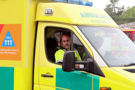 Beaulieu, Hampshire, UK - May 29 2017: Ambulance belonging to the Educational Unit arriving at an incident Editorial