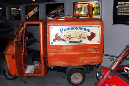 Beaulieu, Hampshire, UK - May 29 2017: Absolutely Fabulous movie getaway car, a Piaggio Ape, on display at the On Screen Cars exhibit at the National Motor Museum