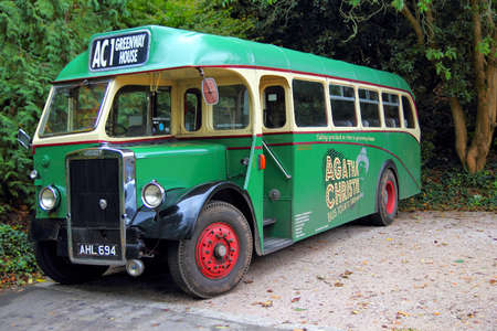 Kingswear, Devon, UK - November 1 2013: Vintage British Leyland bus in green and cream livery, at Agatha Christies Grenway House