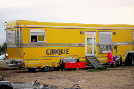 Valras-Plage, Herault, France - Aug 22 2017: Trailer belonging to a French circus or Cirque, living quarters for circus family performers Editorial
