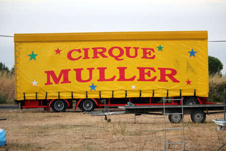 Valras-Plage, Herault, France - Aug 22 2017: Trailer belonging to a French circus  Cirque Muller