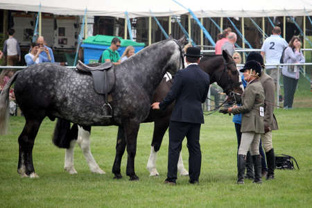 Guildford, England - May 28 2018: Equestrian riding competitors discussing their horses with a Surrey County Show judge