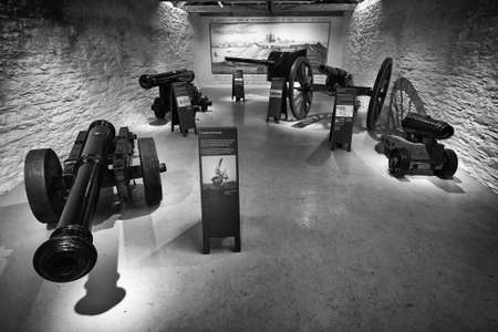 Falmouth, Cornwall, UK - April 12 2018: Several antique historical cannons on display at Pendennis Castle in Cornwall Editoriali