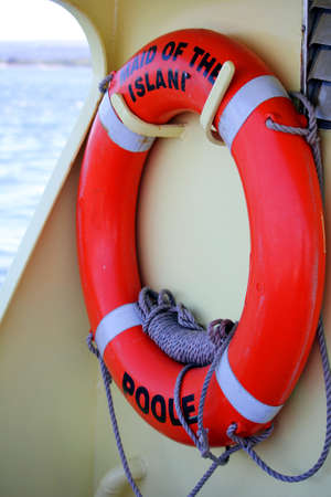 Brownsea, Dorset, England - June 02 2018: Lifebelt or lifebuoy on board the Brownsea Island Ferry Maid of the Islands