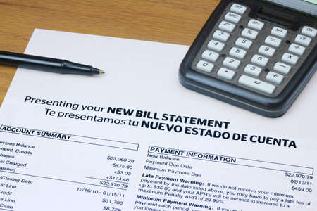 Bilingual Bill Statement Stock Photo