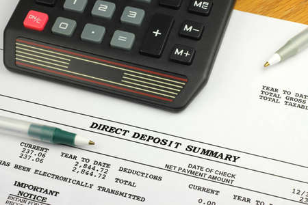 Direct Deposit Summary with Calculator and Pen