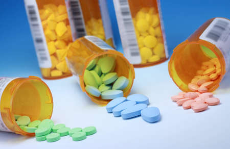 Prescription Medications and Bottles Stock Photo