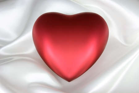 Red Silk Heart on White Satin