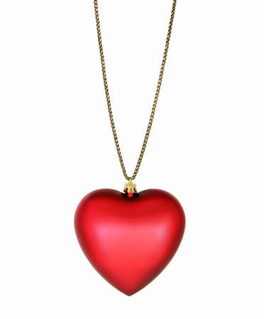 Silk Heart Pendant on Gold Chain photo