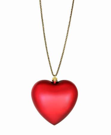 Silk Heart Pendant on Gold Chain
