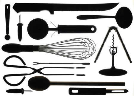 Kitchen Utensils in Silhouette