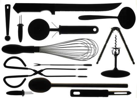 Kitchen Utensils in Silhouette Stock fotó