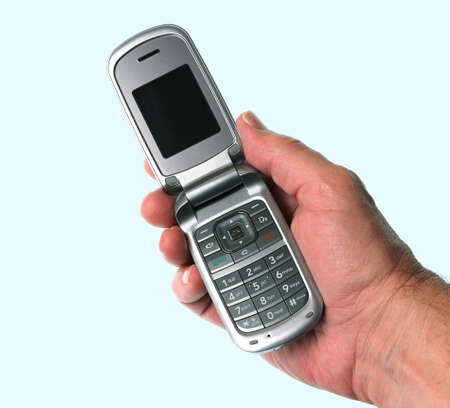 flip phone: Mobile Flip Phone in Hand