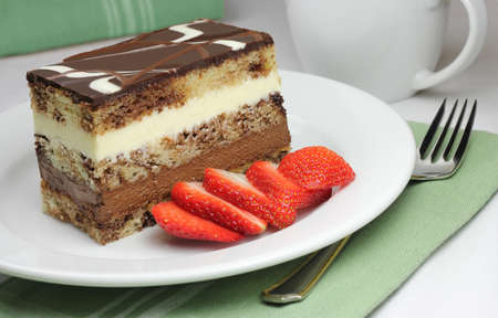 Layer Cake with Sliced Strawberry photo