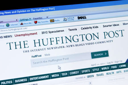 slant: Palm Springs, California, USA - April 11, 2011: A screen capture of The Huffington Post, an online newspaper, blog, and video site. Page accessed is through the AOL browser on a Dell computer.