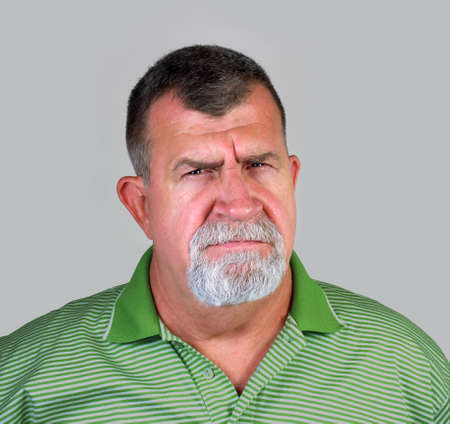 Angry Senior Man Portrait Stock Photo