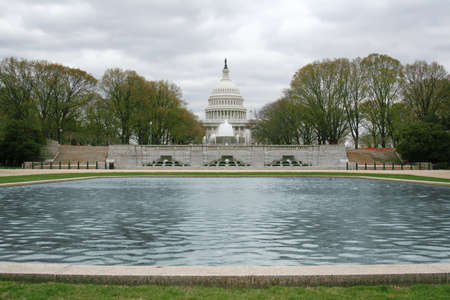 U S  Capitol Building from Lower Senate Park with Garage Fountain Stock Photo