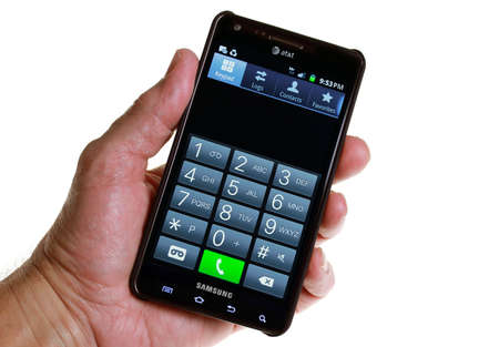 Palm Springs, California, USA - October 12, 2011: An AT&T Smartphone phone keypad (without finger)