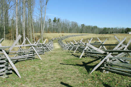 Split Rail Fence Lines a Battlefield in Virginia, USA Stock Photo