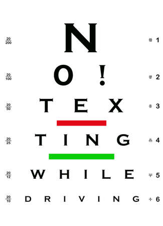 sms: No  Texting While Driving Eye Chart