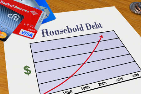 Palm Springs, California, USA - March 7, 2012: Household Debt Graph with Credit Cards Editorial