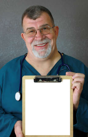 Doctor Displays Blank Form on Clipboard Stock Photo