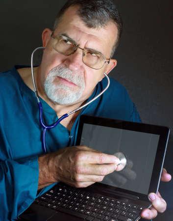 Computer Laptop Doctor Stock Photo - 18468276