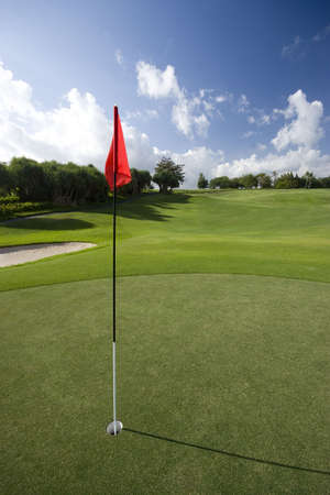 golfcourse: A golfcourse green with a red flag blowing in the wind. Stock Photo