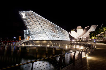 Marina Bay, Singapore - November 07, 2011: Located at the Marina Bay Sands in Singapore, the new Louis Vuitton Island Maison opened on 17th Sept 2011.
