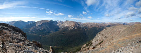 View from Trail Ridge Road over a meadow and peaks  Rocky Mountain National Park, Colorado  photo