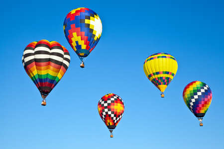 Hot air balloons fill the sky during the Carolina Balloon Festival, Statesville, North Carolina. 版權商用圖片