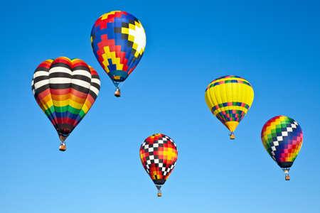 air baloon: Hot air balloons fill the sky during the Carolina Balloon Festival, Statesville, North Carolina. Stock Photo