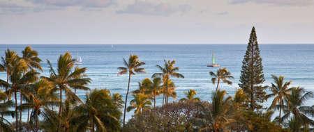 waikiki beach: Early morning on Waikiki beach as seen from a resort tower  Oahu, Hawaii Stock Photo