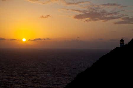 windward: Sunrise over Makapu u point and lighthouse on the windward coast of Oahu, Hawaii