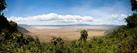 A panoramic photo merge from the rim of the Ngorongoro Crater. Tanzania