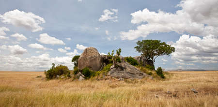 A kopje, or outcropping, formed by glaciers as they carved out the valley. Serengeti National Park, Tanzania Stock Photo