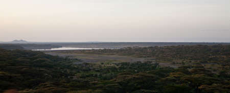 The view from a ht air balloon over Serengeti national Park, Tanzania
