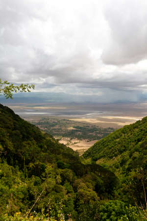 The Ngorongoro Crater as seen through a gap in the rim. Tanzania.
