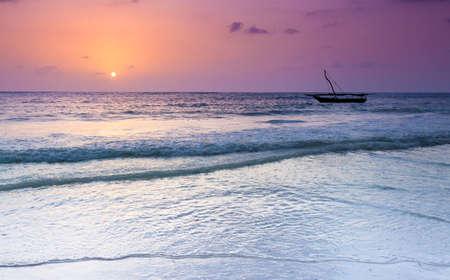 zanzibar: The morning sun as it peeks over the easern horizon. Zanzibar, Tanzania