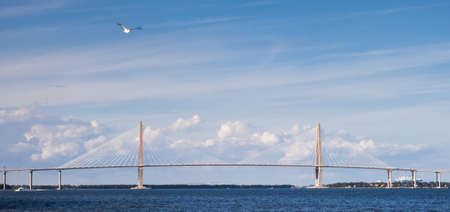 The Arthur Ravenal Bridge also known as the New Cooper River Bridge spans the Cooper River outside Charleston, South Carolina  photo