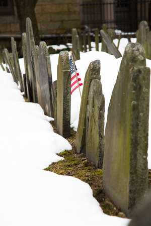 founding fathers: The headstones Granary Burying Ground in Boston mark the final resting place of many of Americas founding fathers. Boston, Massachusetts