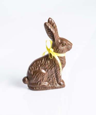 A Chocolate Easter Bunny isolated on a white background. An Easter Favorite.